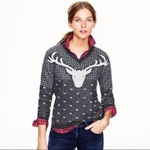 J Crew Vintage Reindeer Holiday Wool Sweater - L
